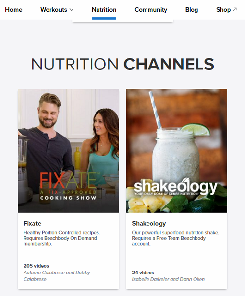 beachbody on demand nutrition tab
