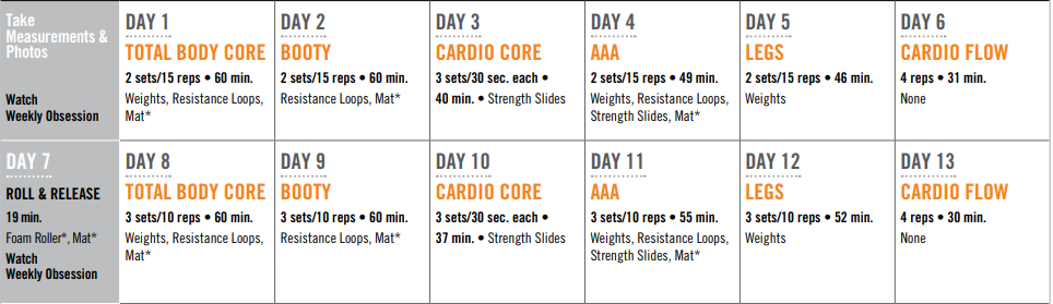 first 2 weeks 80 day obsession schedule